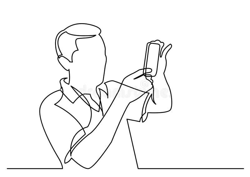 实线做与智能手机的人图画照片