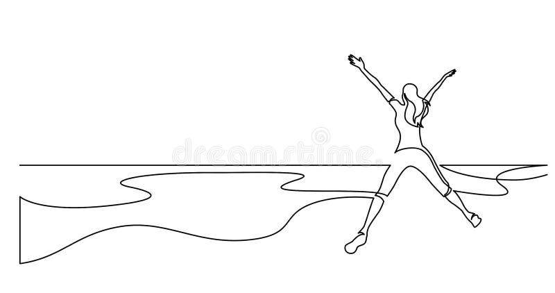 实线健康在海海滩的年轻女人跳跃的喜悦图画  库存例证