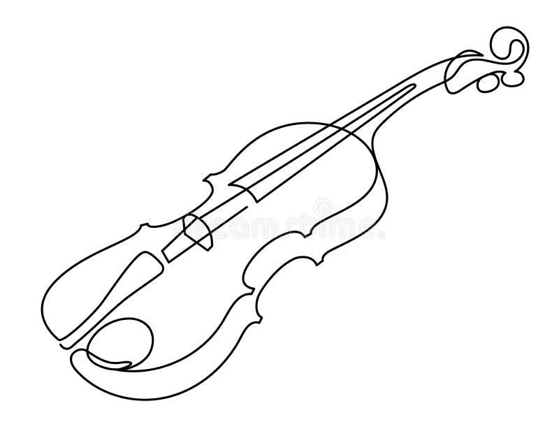 实线四分之三的小提琴传染媒介图画  hornsection仪器音乐零件萨克斯管 库存例证