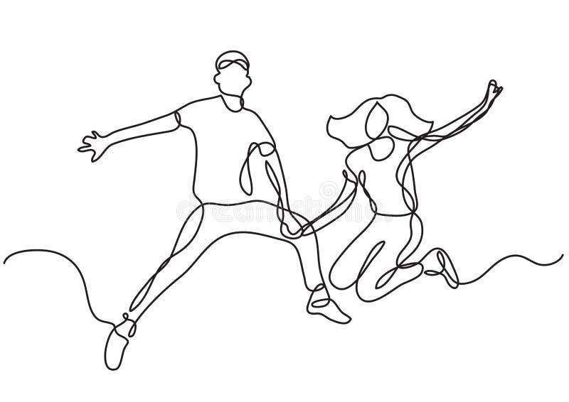 实线图画愉快年轻夫妇跳跃 皇族释放例证