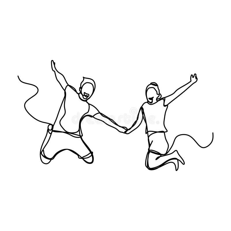 实线图画愉快年轻夫妇跳跃 库存例证