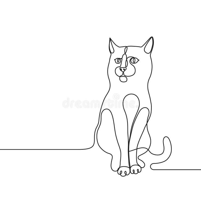 实线图画猫个别线路概念 皇族释放例证