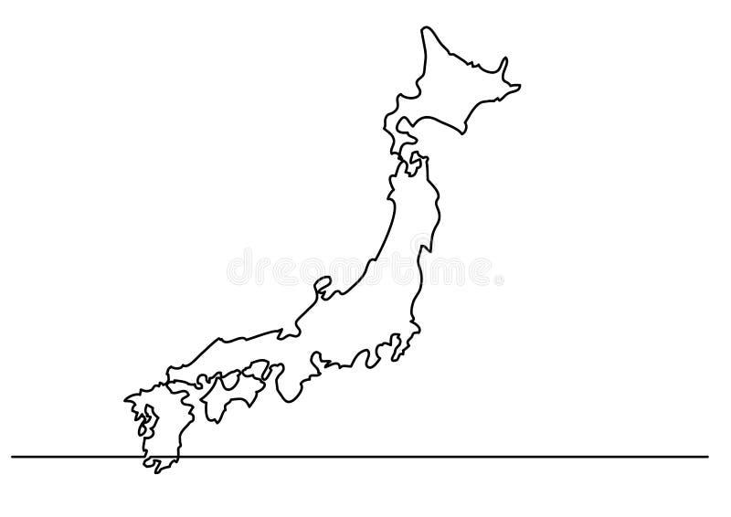实线图画-日本的地图 向量例证