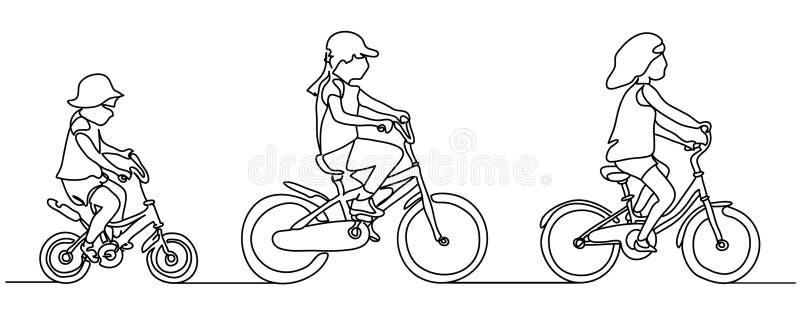 实线图画 查出在空白背景 骑自行车的人的女孩 也corel凹道例证向量 草图 的人们 向量例证