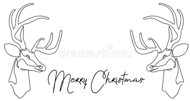 实线圣诞老人项目图画坐与驯鹿的一个雪橇 简单传染媒介的例证 快活的圣诞节 免版税库存照片