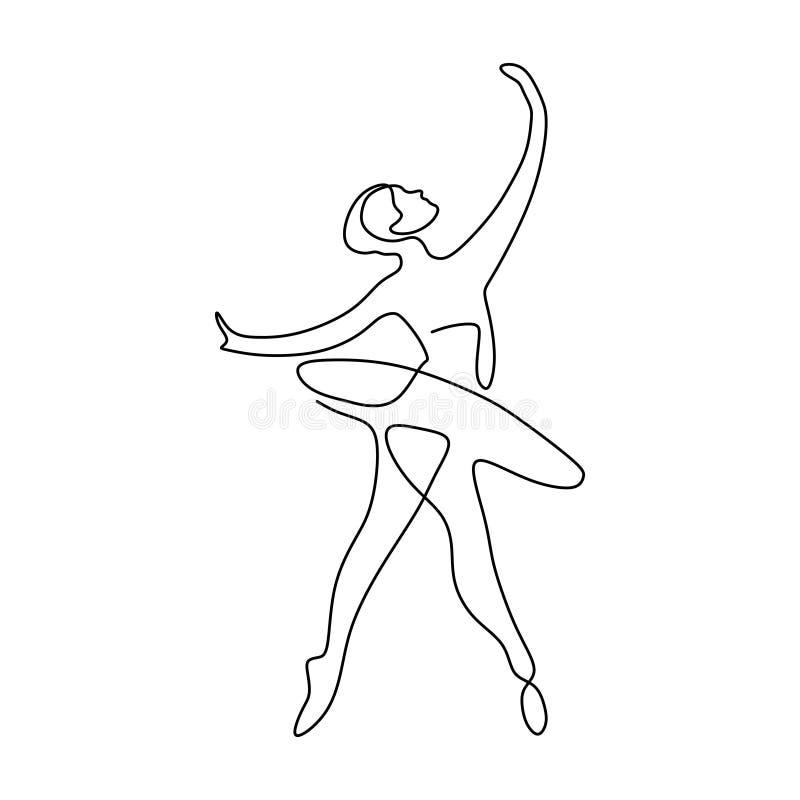 实线女孩跳舞的芭蕾图画  芭蕾舞女演员概念简单派样式 皇族释放例证