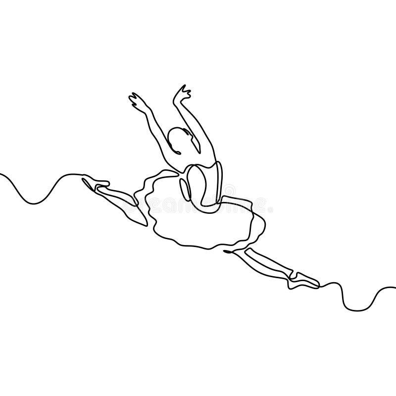 实线女孩跳舞的芭蕾图画  芭蕾舞女演员概念简单派样式 向量例证