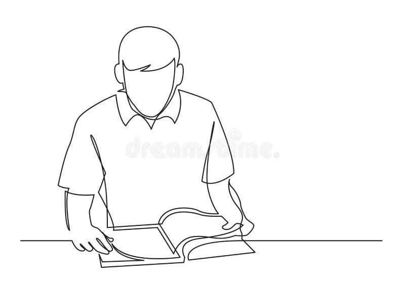 实线年轻人看书图画  皇族释放例证