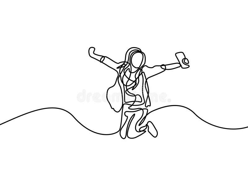 实线愉快学生女孩跳跃 第一天学院 r 库存例证