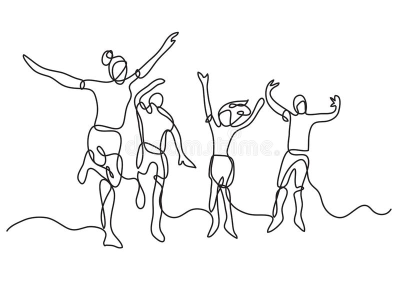 实线愉快的少年图画跳跃和获得乐趣在海滩 库存例证