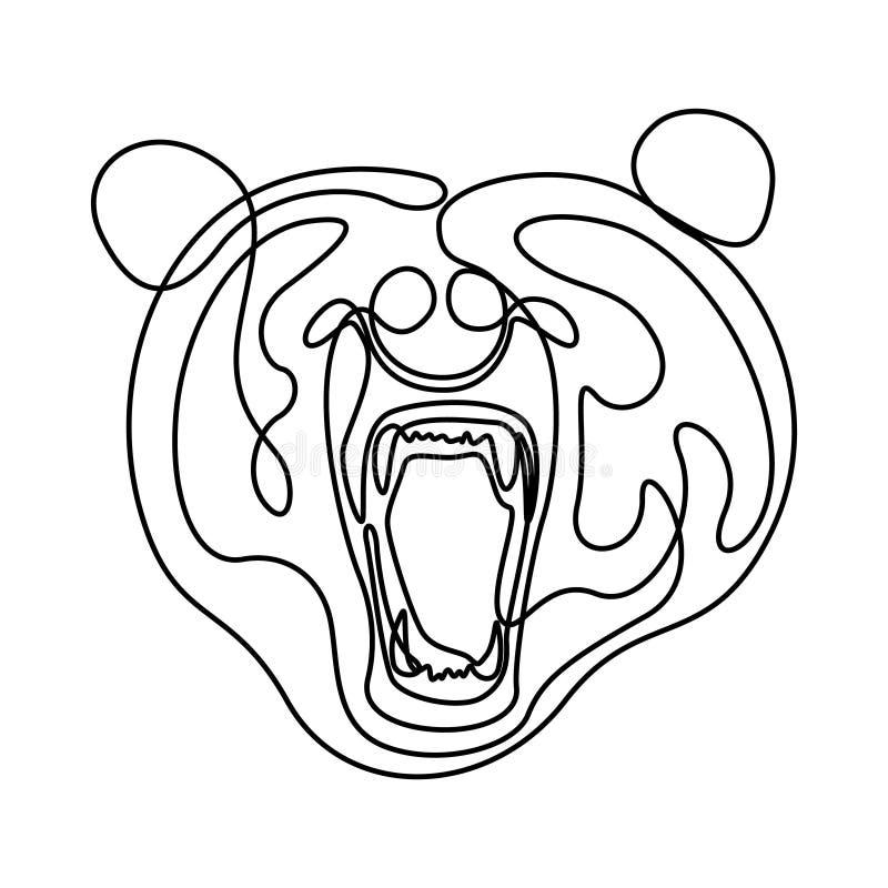 实线愤怒熊头,咆哮熊 r 向量例证
