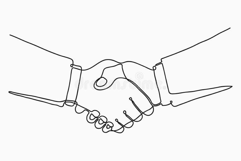 实线握手图画  商务伙伴握手一条个别线路画的 向量 向量例证