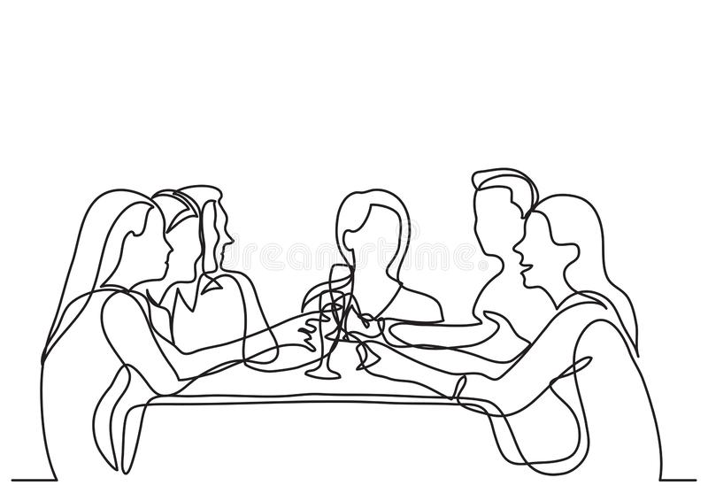 实线朋友公司图画用餐在餐馆的  皇族释放例证