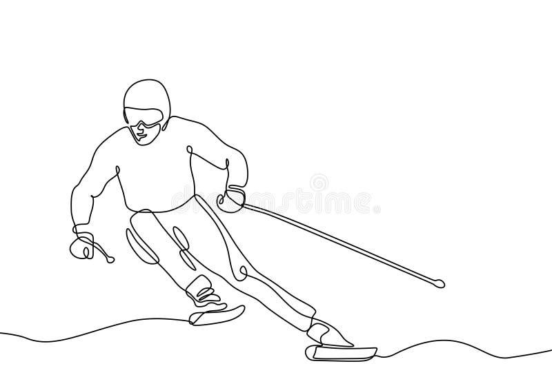 实线滑雪竟赛者图画一手拉的简单派 库存例证