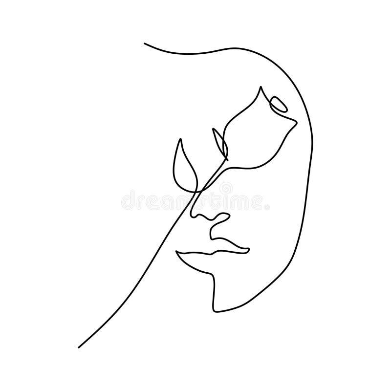 实线玫瑰色花和女孩面孔简单派样式唯一一lineart传染媒介图画  库存例证