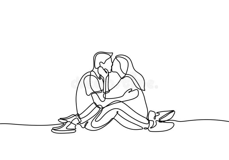 实线男人和妇女的夫妇亲吻的逗人喜爱的片刻图画简单派lineart传染媒介爱最低纲领派设计的  库存例证