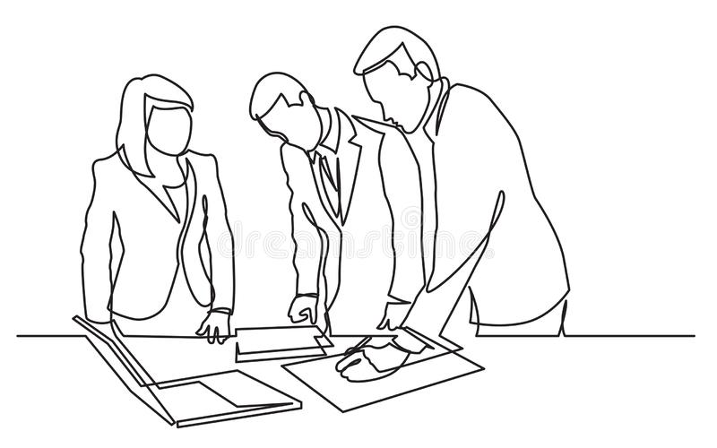 实线编辑纸张文件的站立的办公室工作者图画  向量例证