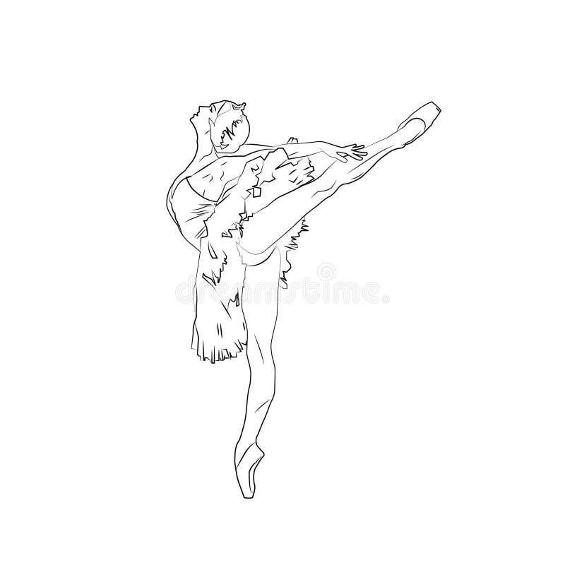 实线艺术图画 跳芭蕾舞者芭蕾舞女演员 皇族释放例证