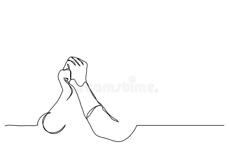 实线艺术或一祷告手、线性样式和手拉的传染媒介例证,概述,动画片乱画线描  免版税库存图片