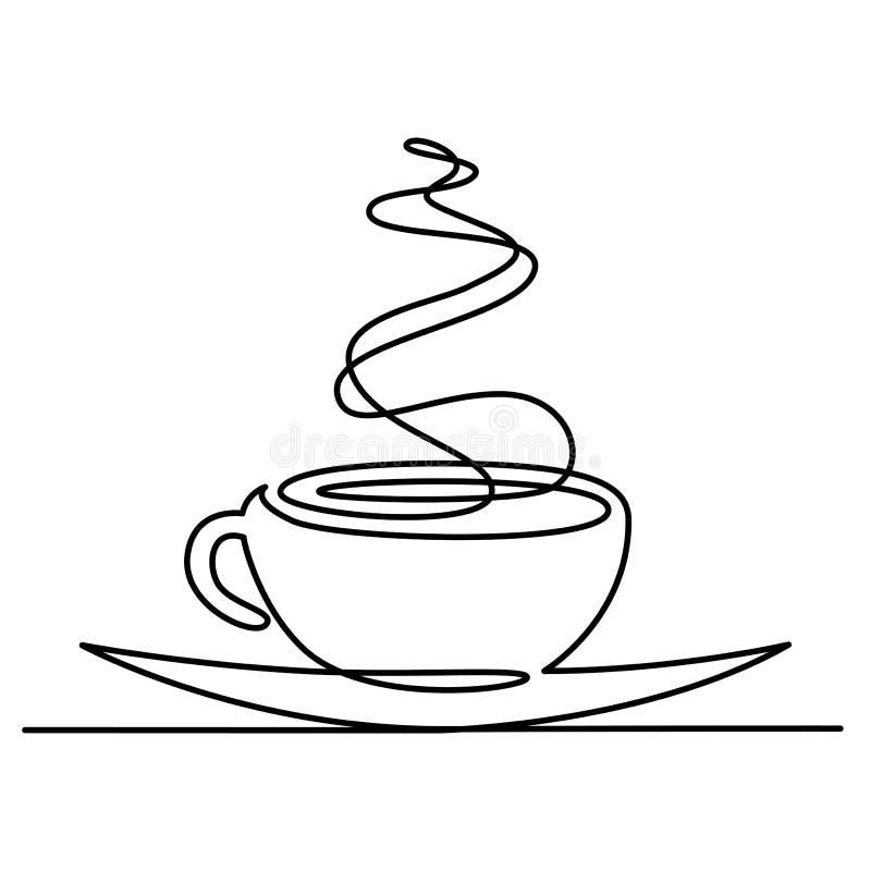 实线茶图画或咖啡与蒸汽线性象 稀薄的线传染媒介热的饮料例证 等高 库存例证