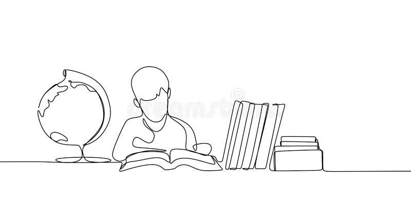 实线读书的图画 皇族释放例证