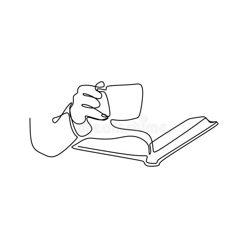 实线读书的图画 向量例证