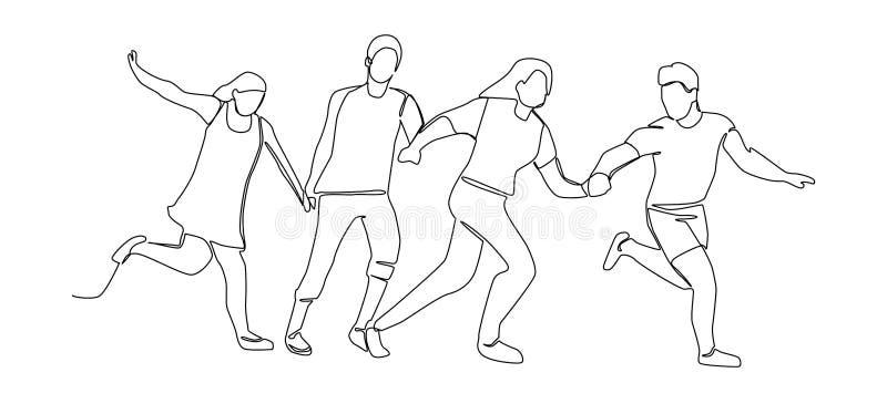 实线跑愉快的人民的图画 一条线字符剪影男人和妇女 皇族释放例证