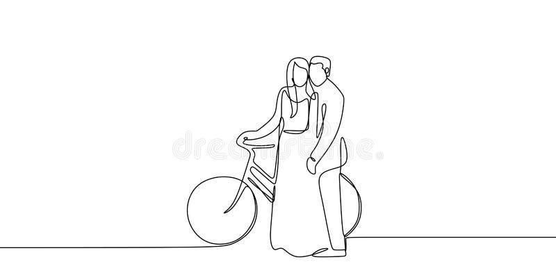 实线逗人喜爱的浪漫夫妇图画在爱骑马自行车传染媒介例证的 向量例证