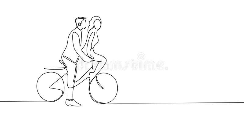 实线逗人喜爱的浪漫年轻夫妇图画在爱骑马自行车传染媒介例证的 皇族释放例证