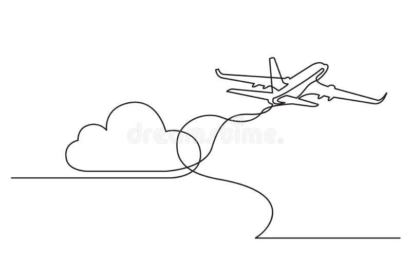 实线飞行客机图画  向量例证