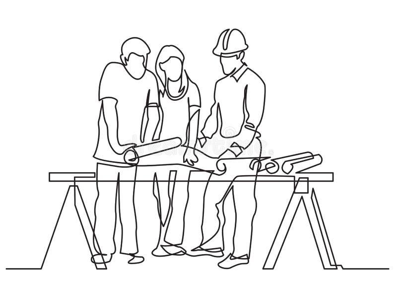 实线-夫妇图画谈论costruction计划以开发商 库存例证