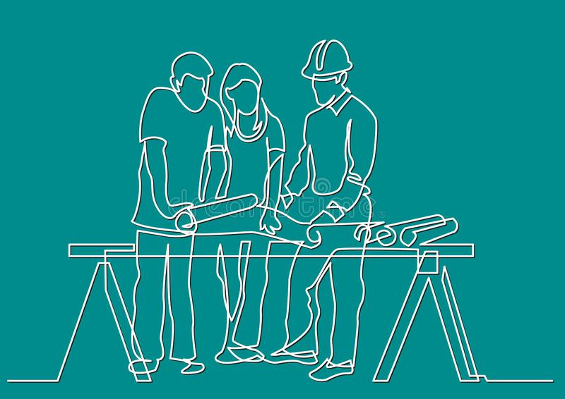 实线-夫妇图画谈论costruction计划以开发商 皇族释放例证