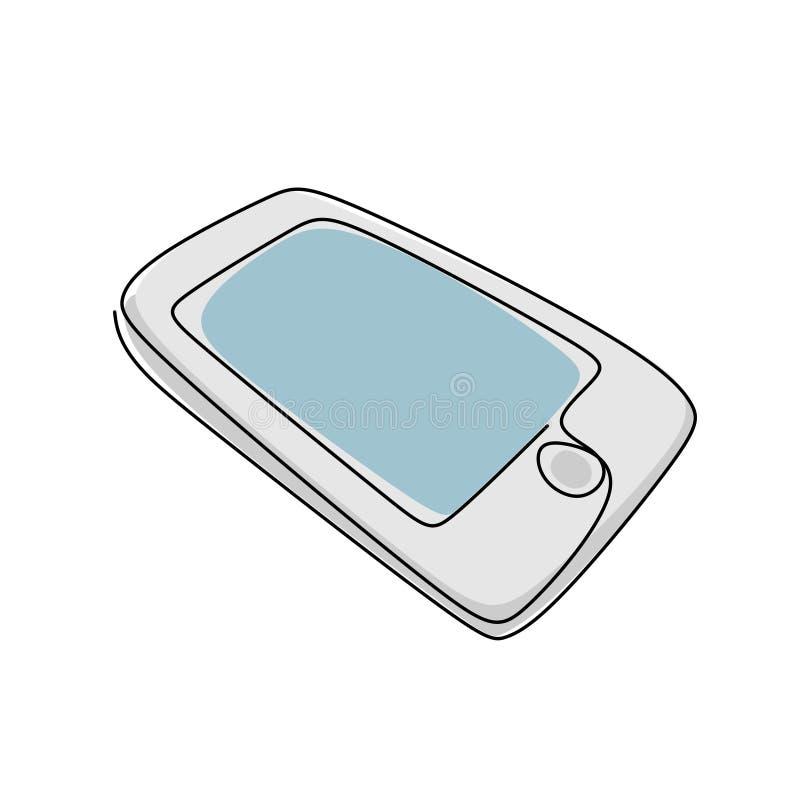实线smarphone移动通信设备图画  皇族释放例证