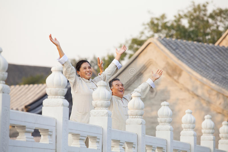 实践太极拳的两个前辈在北京,被伸出的胳膊 免版税图库摄影