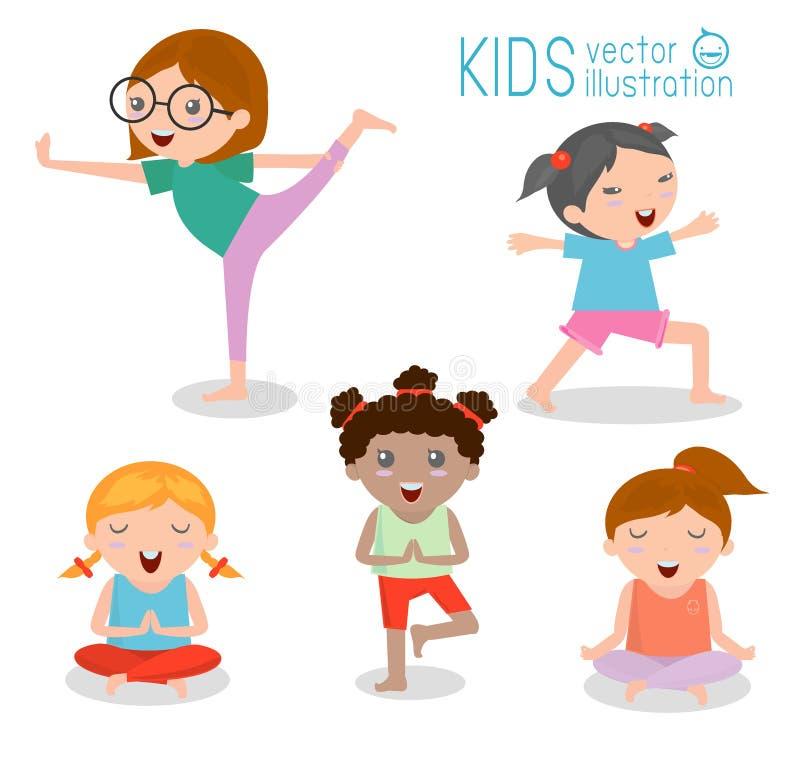 实践瑜伽的孩子,愉快的动画片哄骗实践的瑜伽,瑜伽集合 背景执行女孩健康查出的s衬衣体育运动白色瑜伽 在白色背景的健康生活方式 皇族释放例证