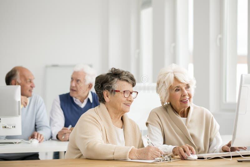 实践的妇女使用计算机 免版税库存图片