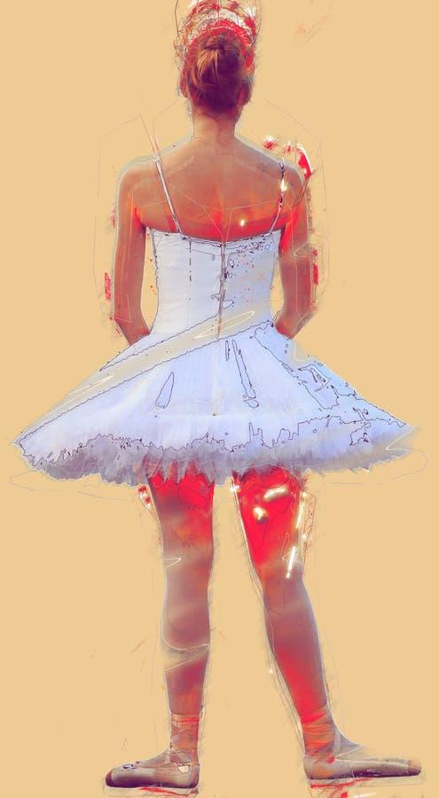 实践经典舞蹈的女孩 向量例证
