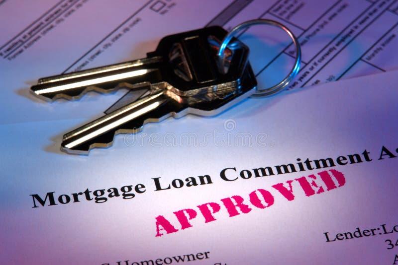 实际批准的文件庄园贷款的抵押 免版税库存照片