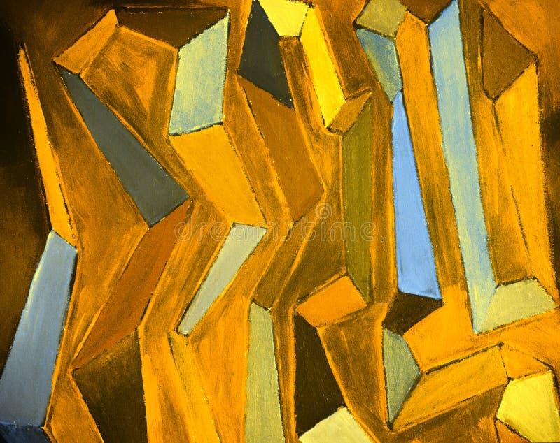 实际抽象五颜六色的油画 库存例证