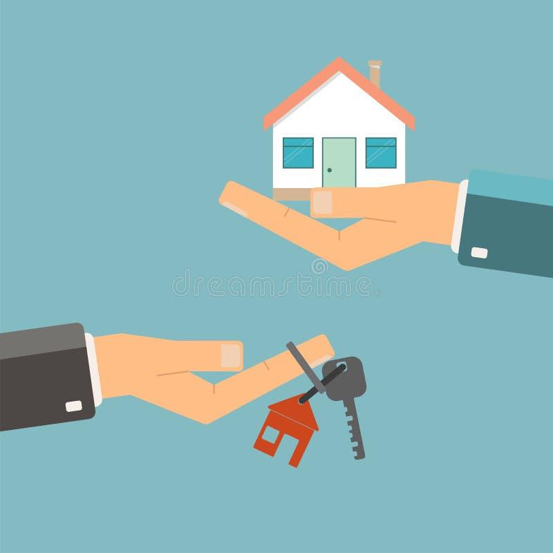 实际概念的庄园 购买或租家 手举行钥匙为ho 皇族释放例证