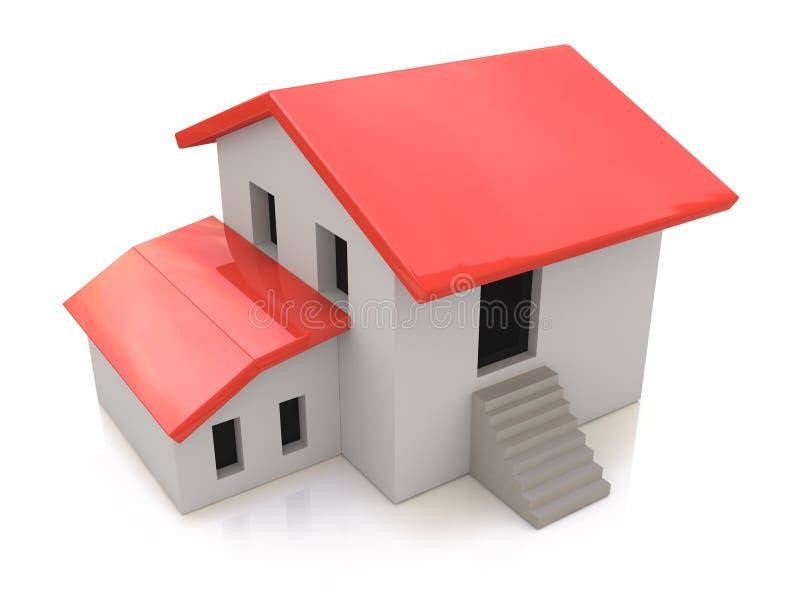 实际概念的庄园 3d白色背景的房子 向量例证