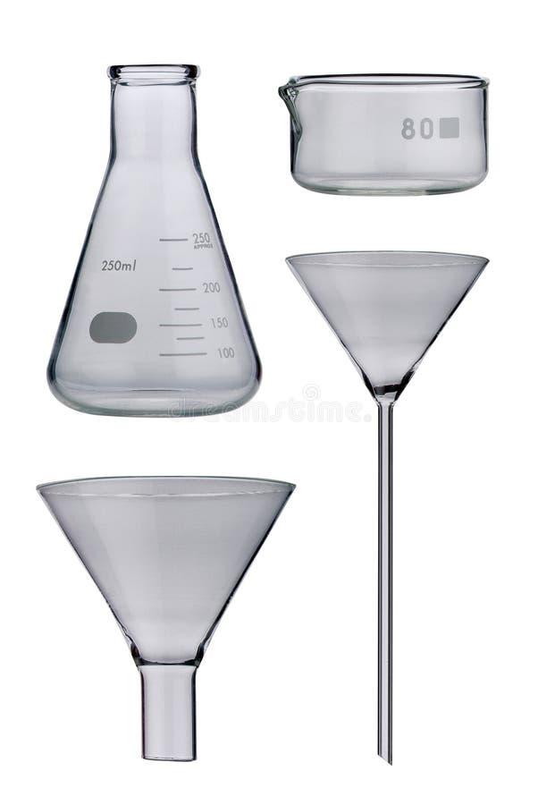 实验室。在背景设置的实验室玻璃器皿 免版税库存图片