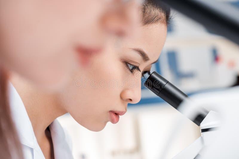 实验室外套的亚裔科学家与显微镜一起使用在化工实验室 免版税库存照片