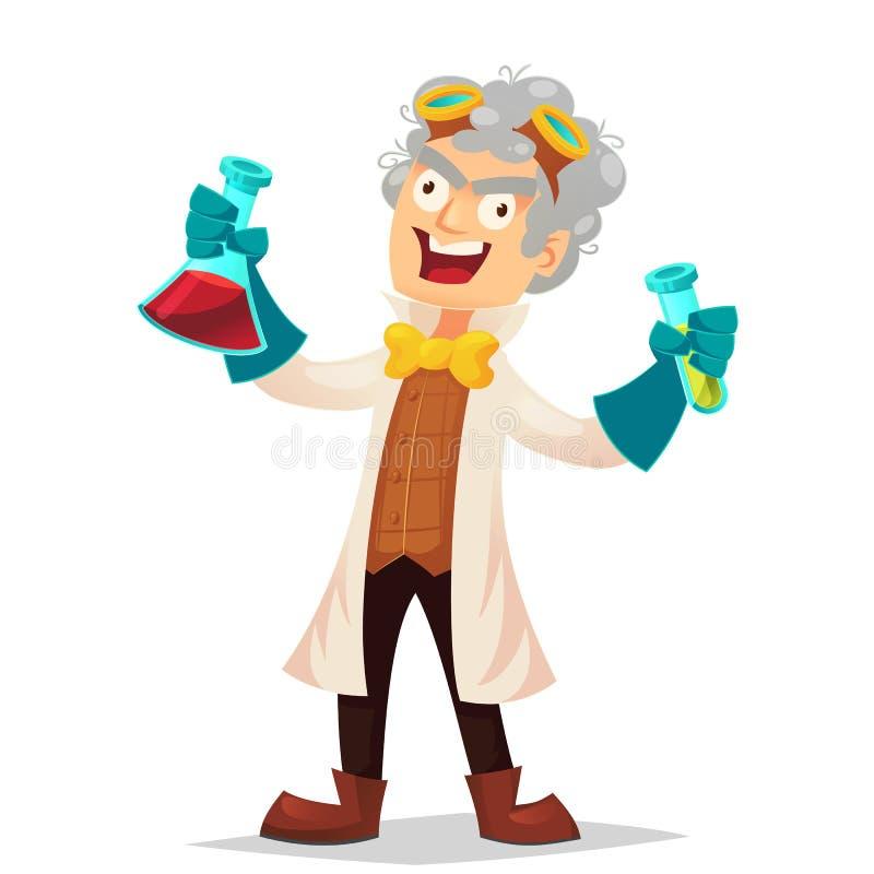 实验室拿着烧瓶,动画片传染媒介例证的外套和橡胶手套的疯狂的教授隔绝在白色背景 疯狂的laughi 向量例证