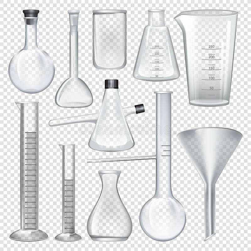 实验室玻璃器皿仪器 化工实验室的设备 库存例证