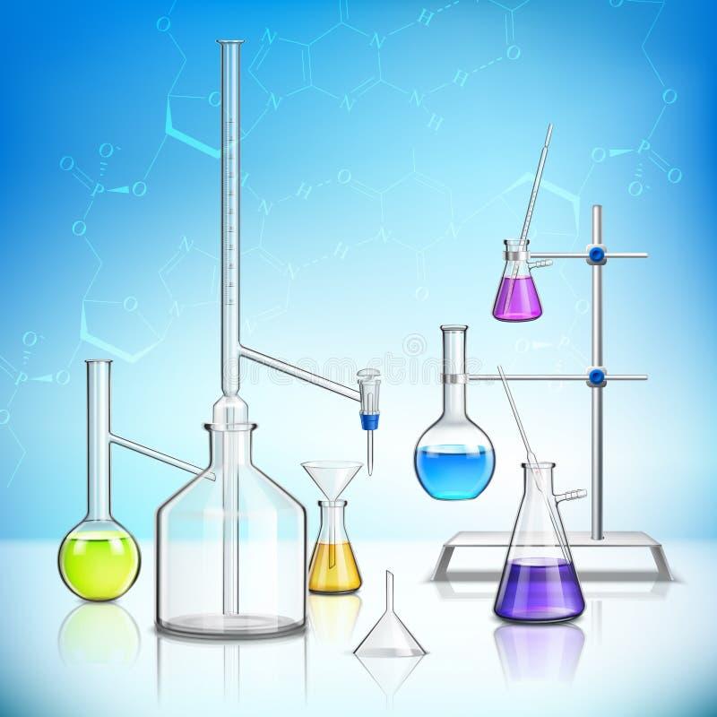 实验室玻璃器皿构成 向量例证