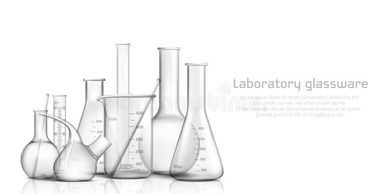 实验室玻璃器皿3d现实传染媒介横幅 向量例证