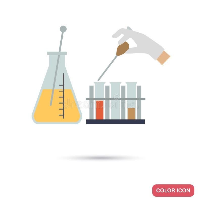 实验室管和烧瓶和混合药物上色平的象 向量例证