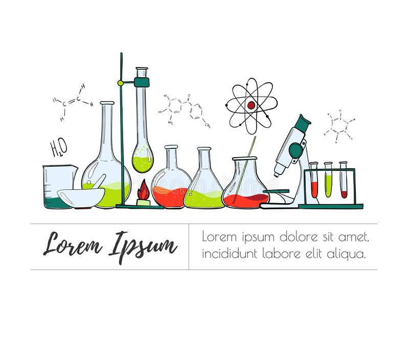 实验室设备彩色组 科学化学 显微镜、玻璃烧瓶和试管 化工实验 向量例证