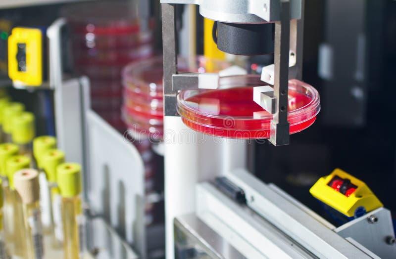 实验室医疗设备 样品运输自动化的machin 免版税库存照片